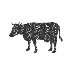 Cow farm mammal color silhouette animal vector
