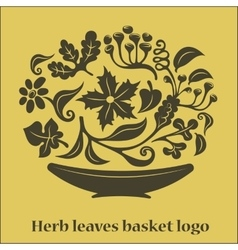 Flower leaves basket logo vector