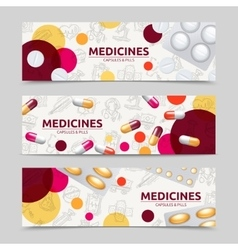 Pills banner set vector