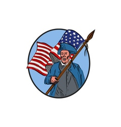 American patriot carrying usa flag circle drawing vector