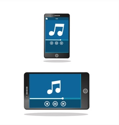 Mobile phone with music player on the screen vector
