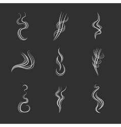 White smoke lines on black background set vector image