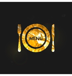 A golden metallic foil plate and cutlery vector