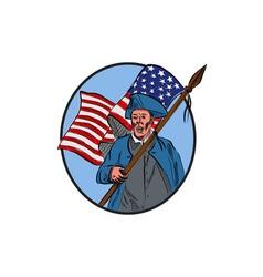American Patriot Carrying USA Flag Circle Drawing vector image
