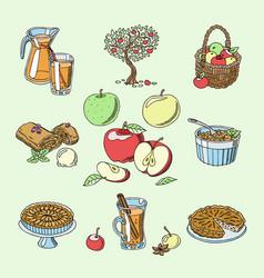 Apples healthy food applepie and applejuice vector