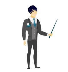 Asian groom holding pointer stick vector
