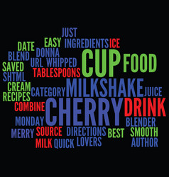Best recipes merry cherry milkshake text vector