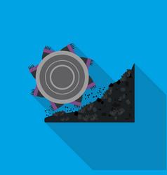 Bucket-wheel excavator icon in flat style isolated vector