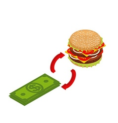 Buying hamburger isometrics Sale of fast food vector image vector image