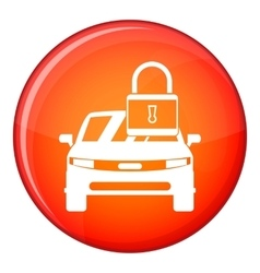 Car with padlock icon flat style vector