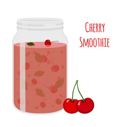 Cherry smoothie vegetarian organic detox drink vector