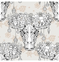 Christmas head elk seamless pattern vector image vector image