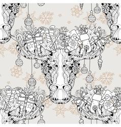 Christmas head elk seamless pattern vector