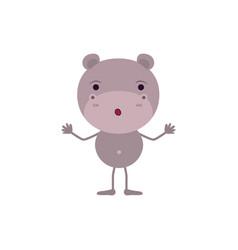 Colorful caricature of cute hippopotamus vector