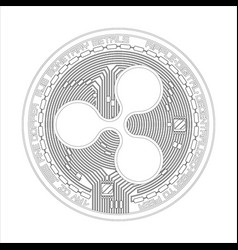 Crypto currency ripple black and white symbol vector