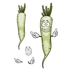 Daikon or white radish vegetable character vector