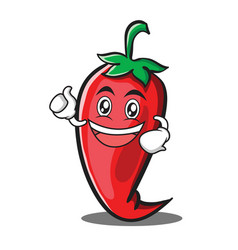 Enthusiastic red chili character cartoon vector