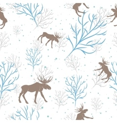 Forest deer and tree branch seamless pattern vector