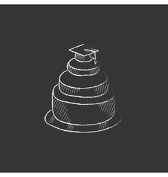 Graduation cap on top of cake drawn in chalk icon vector