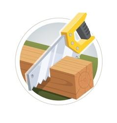Hacksaw cut wooden board vector