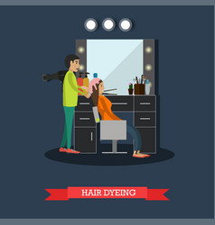 hair dyeing concept in flat vector image