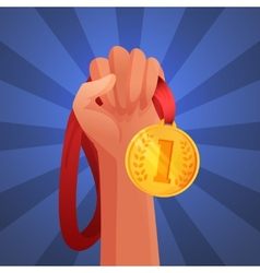Hand holding medal vector image vector image