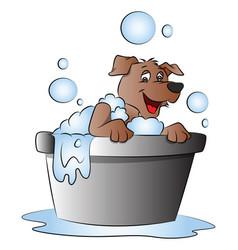 Happy dog in bathtub vector