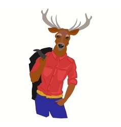 hipster deer in cool fashion clothes vector image