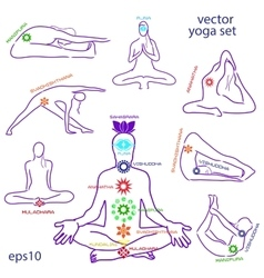 Influence of asanas for chakras vector