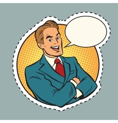 Joyful retro businessman label sticker outline vector