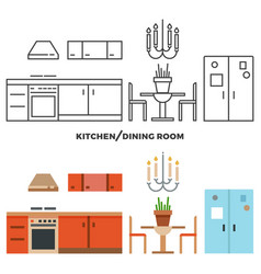 kitchen and dining room furniture and accessories vector image vector image