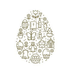 Linear icons easter egg shaped vector