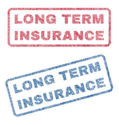 Long term insurance textile stamps vector