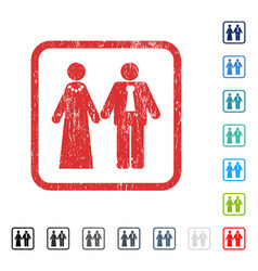 Newlyweds icon rubber watermark vector