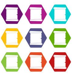 retro scroll paper icon set color hexahedron vector image vector image