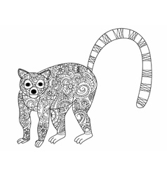 Ring tailed lemur coloring for adults vector