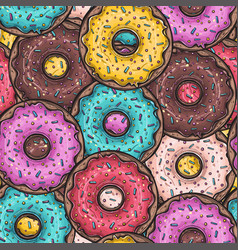seamless pattern with colored donuts vector image vector image