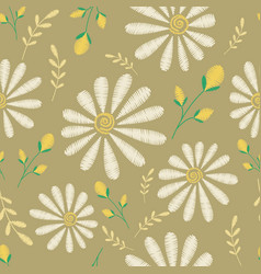 Seamless texture embroidery floral design vector