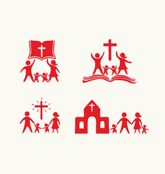 Set of happy christian family and church vector