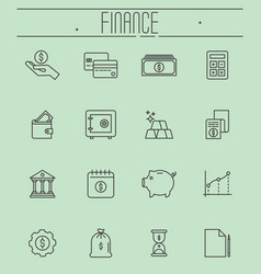 Set of thin line icons - money finance vector
