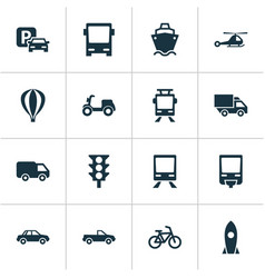 Shipment icons set collection of skooter airship vector