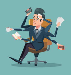 shocked multitasking businessman at office work vector image vector image