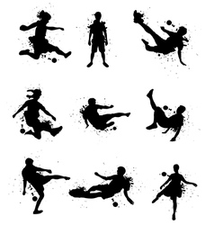 Soccer players silhouette with color splash vector