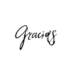 Thank you gracias phrase in spanish handmade vector