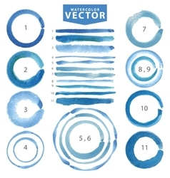Watercolor circle stainline brushescyanblue vector