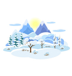 Winter landscape with trees mountains and hills vector