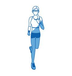 Woman run with wearable technology headphones vector