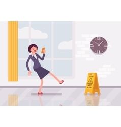 Woman with a smartphone slipps on the wet floor vector