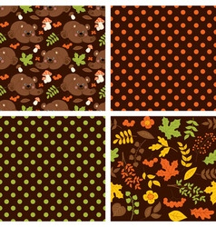 Woodland Seamless Pattern Set vector image