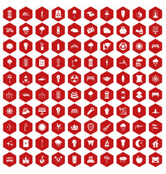 100 street lighting icons hexagon red vector
